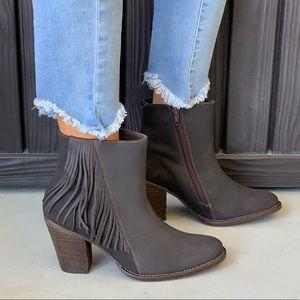 NIB Leather Charcoal Boho Fringe Block Heel Bootie